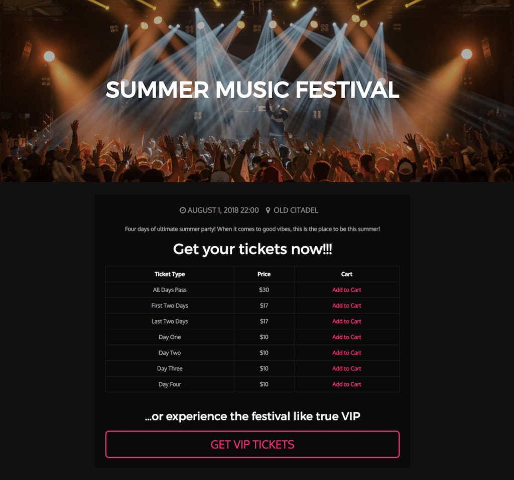 Summer Music Festival – Ticket Selling