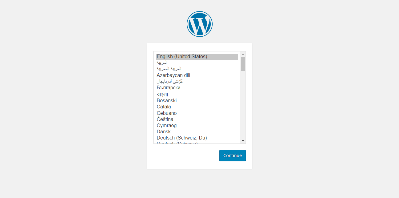 WordPress installation - language selection