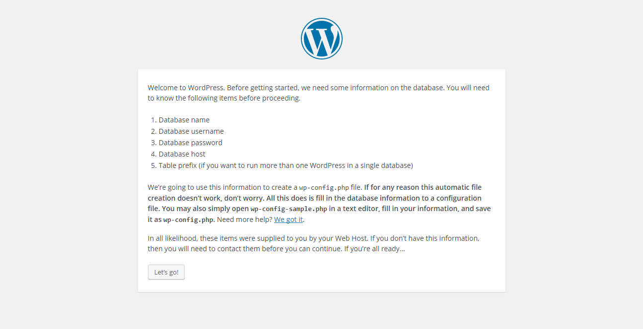 WordPress installation - Let's go