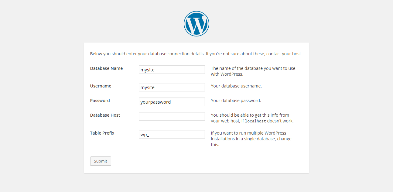 WordPress installation - enter credentials