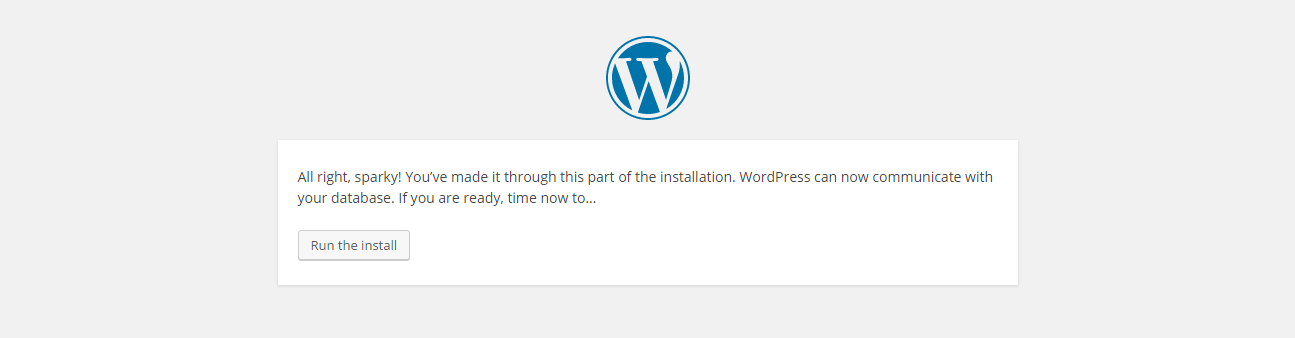 WordPress installation - run the installation