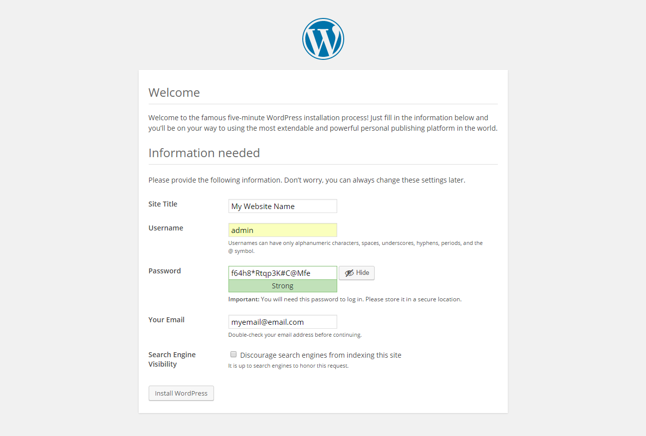 WordPress installation - site name, admin, password