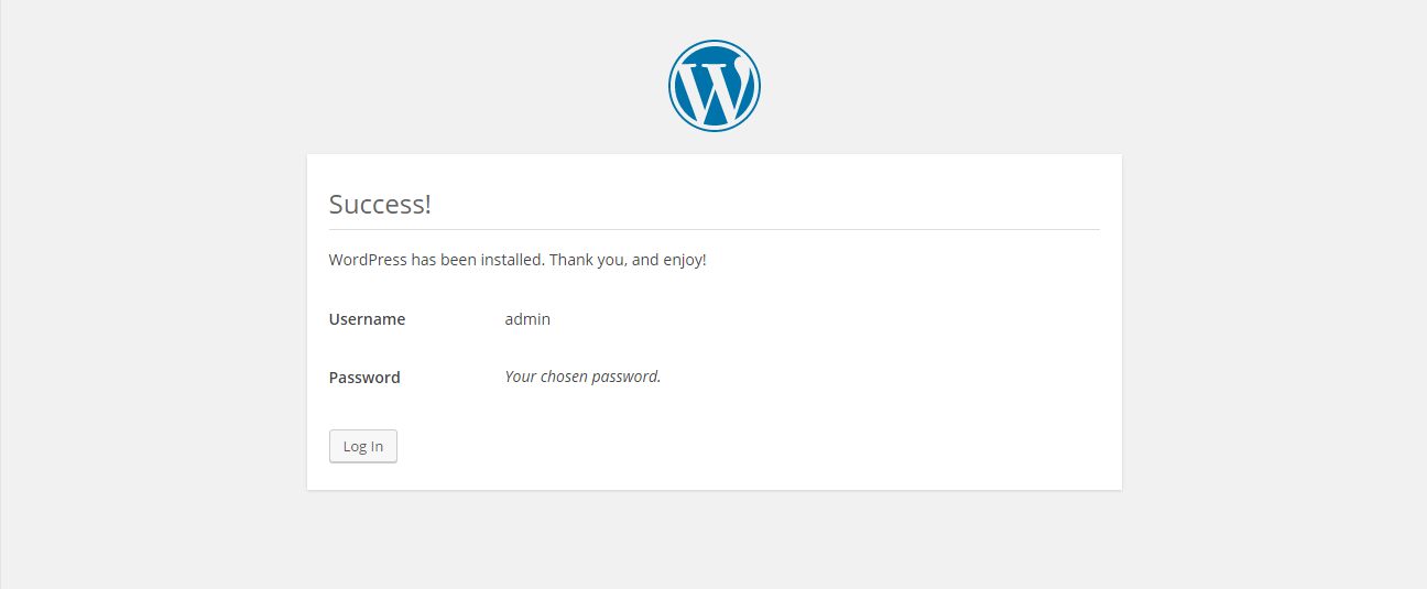 WordPress installation - success