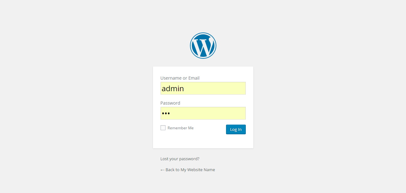 WordPress installation - log in