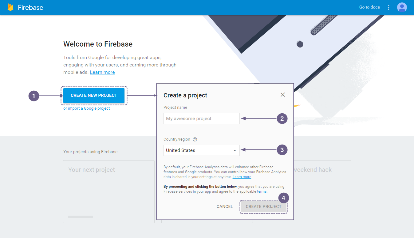 Firebase - Create New Project